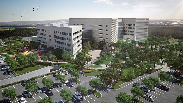 Artist's rendering of new hospital in Ashdod (Credit: Oded Karni)