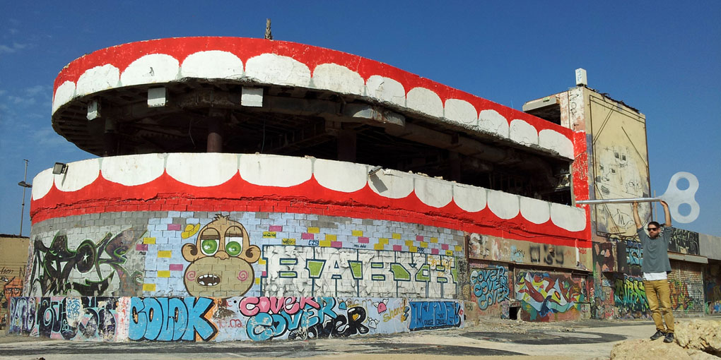Dede's Graffiti at at Tel Aviv's Dolphinarium (Credit: Courtesy, Dede Bandaid)