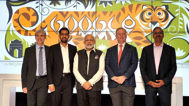 The Prime Minister, Shri Narendra Modi in a group photograph with the Google Officials at Google (Alphabet) campus, in Silicon Valley, California on September 27, 2015. (Credit: Narendra Modi)