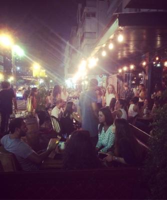 One of the popular Bars on Dizengoff Street in Tel Aviv - where flirting is as mandatory as having a shot. (Credit: Katharina Hoeftmann)
