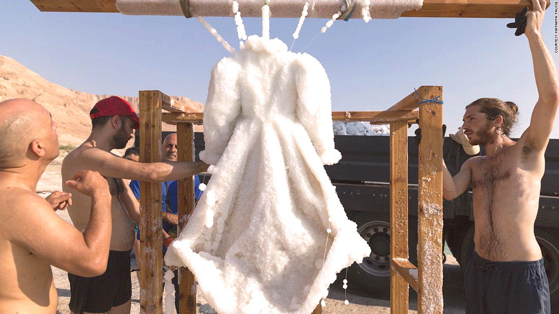 A magical salt covered dress - Sigalit Landau's art at the Dead Sea (Credit: Courtesy, CNN)