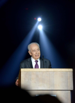 President Shimon Peres speaks at the Peres Academic Center in Rehovot, on the occasion of his 90th birthday. (Credit: Mark Neyman)